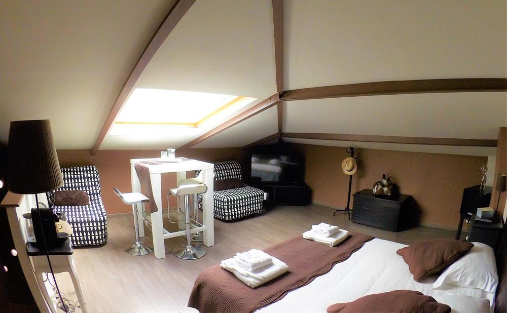 Maison d'hôtes à Carcassonne avec vue sur château de la chambre familiale Chocolat