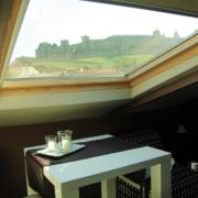 Maison d'hôtes à Carcassonne : vue sur château de la chambre familiale Chocolat